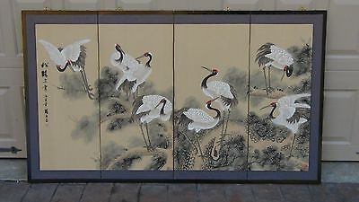 EARLY 20c CHINESE WATERCOLOR ON SILK PAINTING 4 PANEL SCREEN OF CRANES ,SEALED