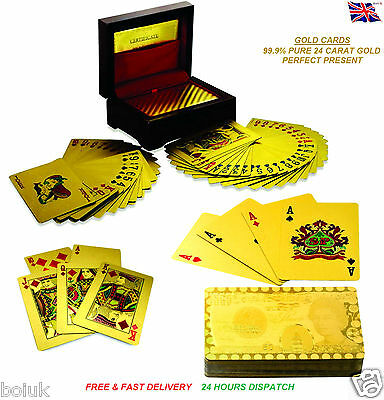 24k Gold Plated Playing Cards Full Poker Deck 99.9% Pure Wooden Gift Game Casino
