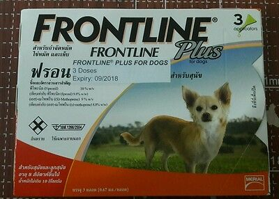 Frontline Plus For Dog 0-22 lbs (up to 10 kg) 3 MONTHS (Doses) Flea Control