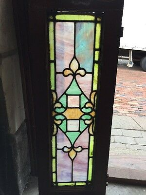 "Sg 886 Antique Transom Window Stainglass And Bevel 12.5"" X 34"""
