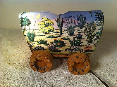 Vintage Western Conestoga Horse Covered Wagon Tv Night Light Lamp Cactus Wood