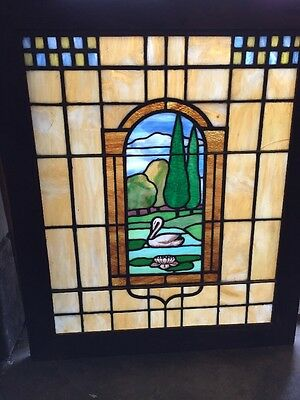 Sg 894 Antique Landscape Landing Window With Swan