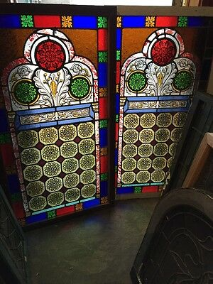 Sg 895 Two Available Price Separate Antique Painted And Fired Landing Windows