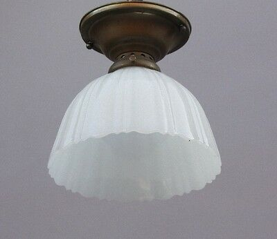 1930s Flush Mount Ceiling Light Antique Lighting Fixture w Milk Glass (9686)