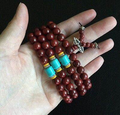 Tibetan Red Sandalwood Mala with Turquoise,Agate & Silver Prayer Beads 108 10MM