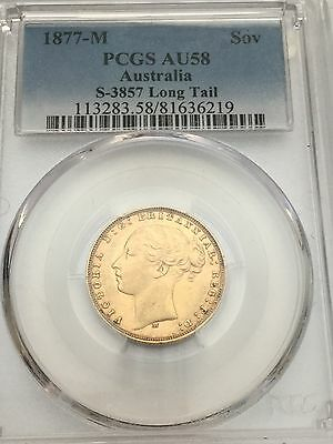1877-M Australia Sovereign PCGS AU58 * S-3857 Long Tail