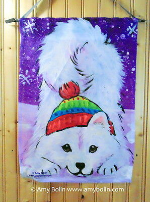 """Samoyed """"Playful Pup"""" 12 By 18 Garden flag no pole By Amy Bolin purple snowflake"""
