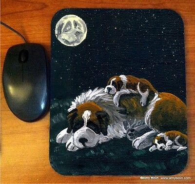 MOUSE PAD SAINT BERNARD CAMPING OUT  BY  Amy Bolin