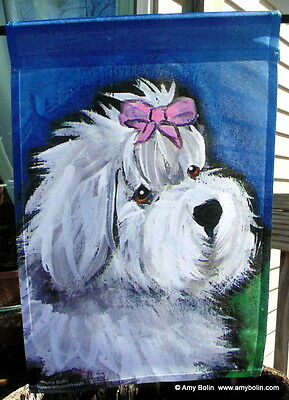 OLD ENGLISH SHEEPDOG OES  gussied up  12 by 18 GARDEN FLAG no pole by Amy Bolin