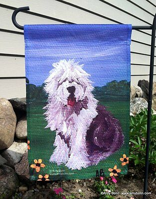 OLD ENGLISH SHEEPDOG  SUMMER OES  12 by 18 GARDEN FLAG no pole by Amy Bolin