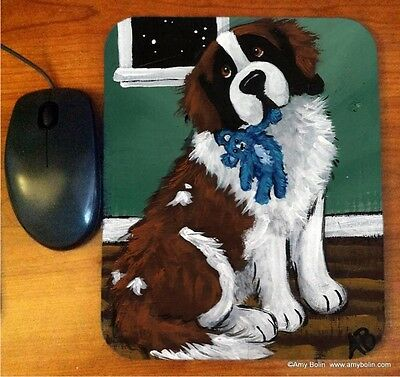 MOUSE PAD ST.  SAINT BERNARD BEDTIME BUDDIES  BY  Amy Bolin