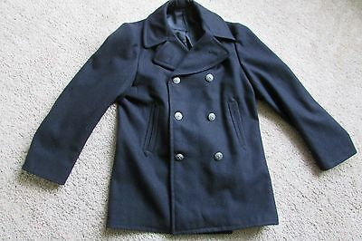 Vintage Black Military Double Breasted Silver Eagle Buttons PeaCoat Sz 38 R