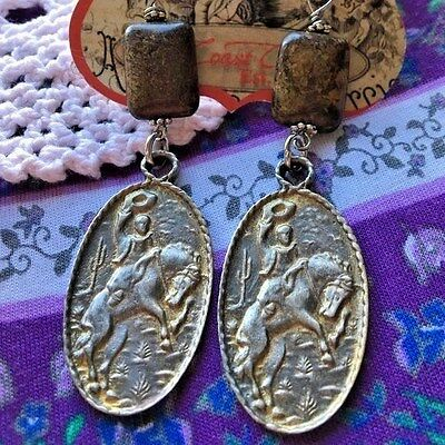 West Coast Cowgirl Western Broncing Buck & Cowboy Earrings Southwest Style New