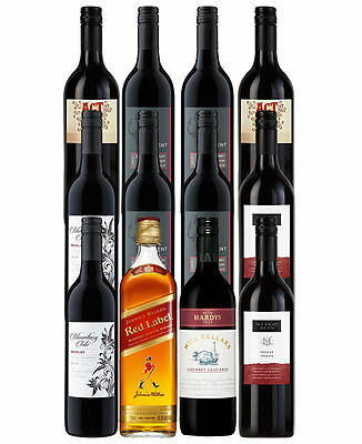 11 Red Wines And Johnnie Walker Red Label (12 Bottles)