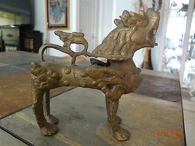 Chinese Solid Brass Foo Fu Dog ** Guardian Lion ** BEAUTIFULLY Detailed ** VGUC!