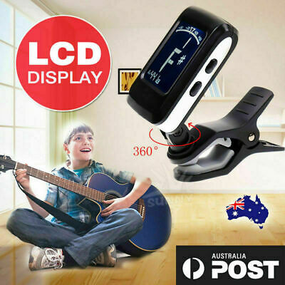 Chromatic Guitar Tuner Violin Ukulele Bass LCD Electronic Digital Clip on AU