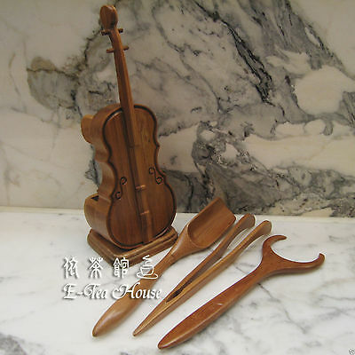 E-Tea-House, Violin Shape Gongfu Tea Utensils 4 Pieces - Chinese Cha Dao Set