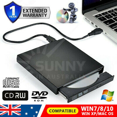 AU USB 2.0 External CD RW DVD ROM Portable Drive Burner Laptops MAC WINDOWS