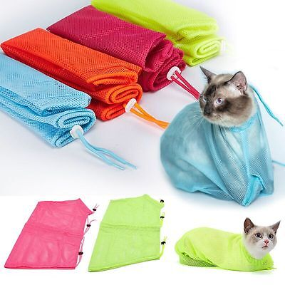 Pet Cat Grooming Bag Nails Cutting Bathing Restraint No Scratching Bite Mesh