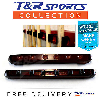 6 Cues Clip Wooden Snooker Billiards Pool Cue Rack Wall Mounted Mahogany