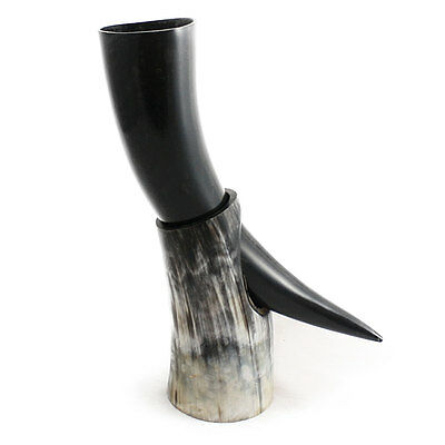 handcrafted viking drinking horn and horn stand for beer wine mead for wedding