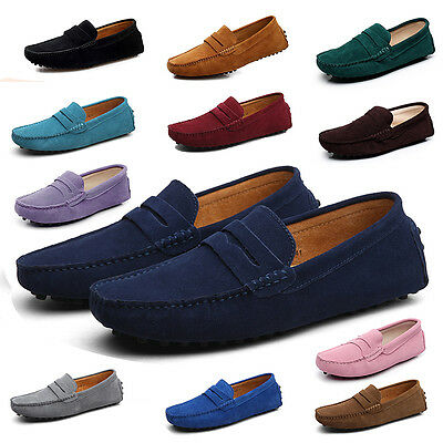 New Men's driving moccasins loafers Minimalism Casual Suede Leather penny shoes