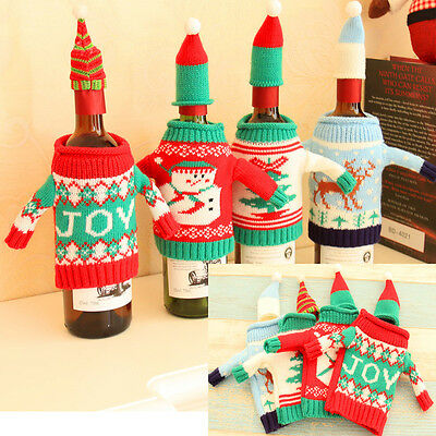 Christmas Knitted Sweater Coat Hat Wine Bottle Wrap Cover Bag Topper Party Decor