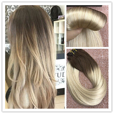 6A Balayage Brown to Blonde Remy Ombre Clip In  Human Hair Extensions Full Head