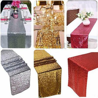 """12""""x108"""" Gold/Silver/Red Glitter Sequin Table Runner Sparkly Wedding Party Decor"""