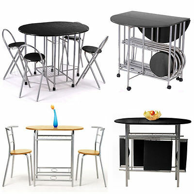 Modern Classic Design Dining Set Table and 2/4 Chairs Folding Stacking Multi-opt