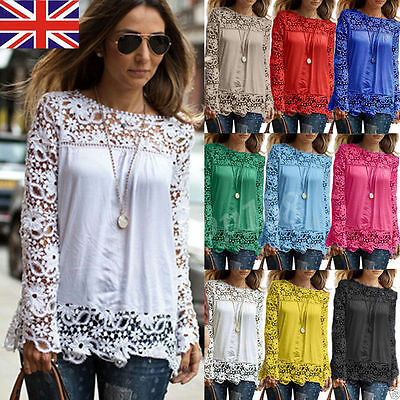 Women's Embroidery Casual Long Sleeve Shirt Loose Blouse Ladies Lace Casual Tops