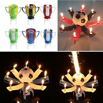 Amazing Musical Football Cup Creative Rotating Happy Birthday Music Candle Gift