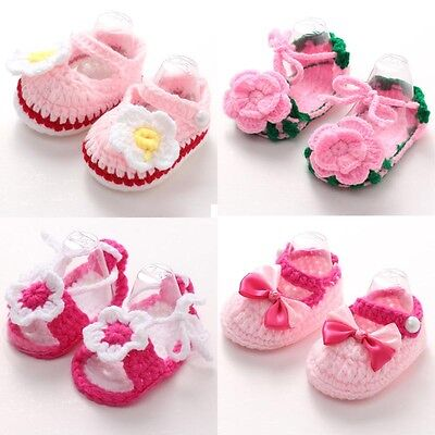 Handmade Newborn Girls Crib Crochet Knit Casual Shoes Baby Infant Sock Soft Sole