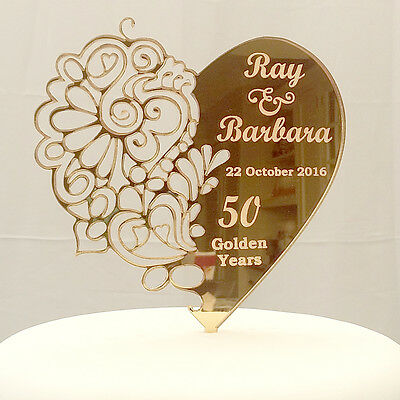 Personalised Mehndi Wedding or Anniversary Mr & Mrs and Date Heart Cake Topper