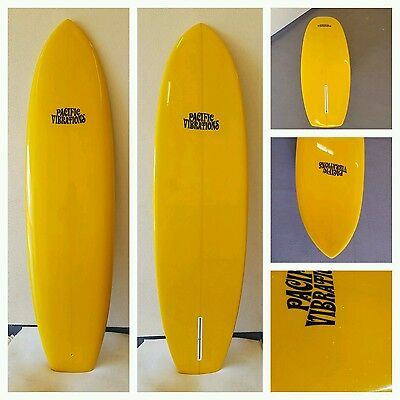 "New surfboard  6'9"" vintage style single fin Pacific Vibrations surfboards."