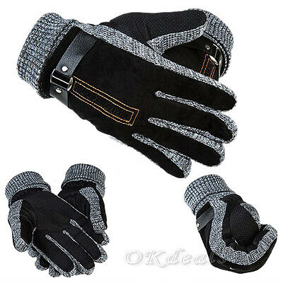 Men Winter Warm Gloves PU Leather Thermal Thicken Windproof Mittens Driving GOOD