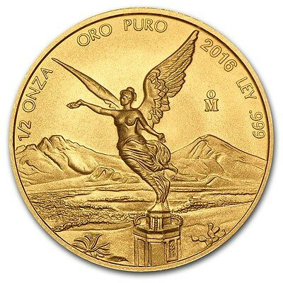 2016 Mexican Libertad 1/2 oz .999 Gold Round Bullion BU Coin - ONLY 1,200 MINTED