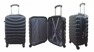 Hard Shell Black 4 Wheel Spinner Suitcase ABS Luggage Cabin Case Carry On