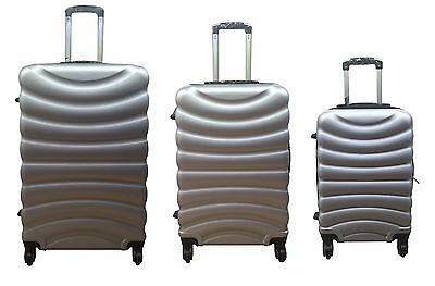 Hard Shell Silver 4 Wheel Spinner Suitcase ABS Luggage Cabin Case Carry On