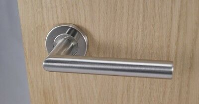 Brushed Satin Stainless Steel Finish Mitred Lever Door Handles On Sprung Rose