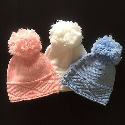Baby Bobble Hat Pom Pom Knitted Wool NB-12 Months Soft Touch Blue Pink White