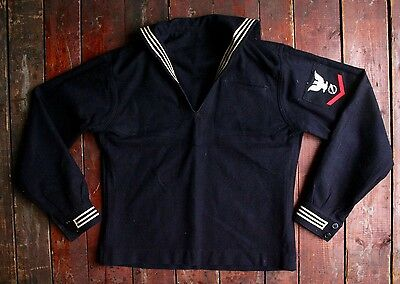 VTG 50s US NAVY BLUE WOOL UNIFORM DRESS PULLOVER JUMPER TOP USN CRACKERJACK 38R