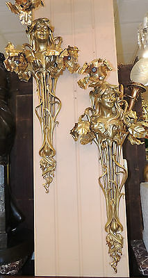 Pair of Very Large French Art Nouveau Gilt Bronze Wall Sconces