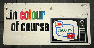 RARE 1960's CKCO-TV Kitchener, Ontario Television Station in Colour Metal Sign