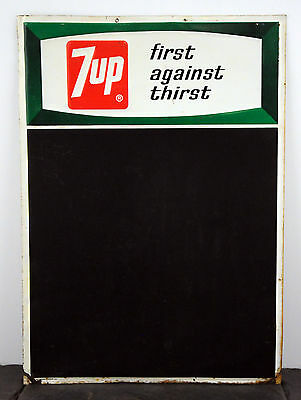 """1968 7up Chalboard/Sign HTF Canadian Version 28"""" x 20"""" Embossed"""