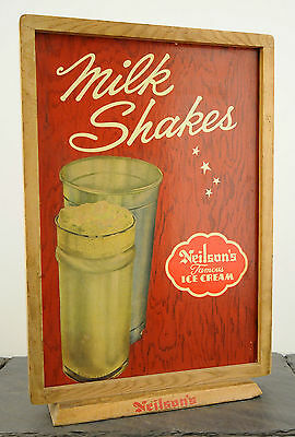 "1940's Neilson's Famous Ice Cream RARE Double Sided Wood Counter Sign 14"" x 21"""