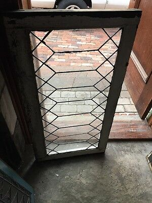 Sg 896 Antique Geometric Leaded Beveled Glass Window 21 X 40.5""