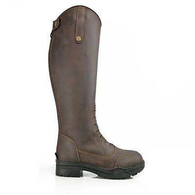 Brogini Montagne Faux Fur Winter Long Riding Boots Brown Oiled Leather