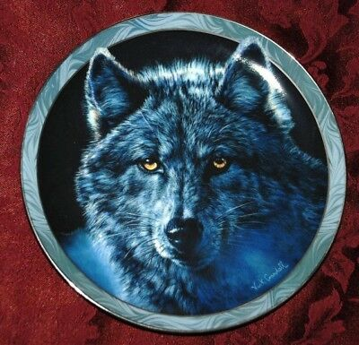 Moon Shadows - WOLF - Bradford Collectible Plate P88 yy