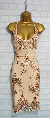 ~PERINA~ Nude Sequin Lace Embellish Bodycon Evening Mini Party Dress 8 10 12 14